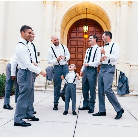 Groomsmen outside of chapel at Rollins College wedding in Orlando Florida.
