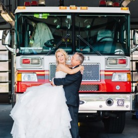 Bride and Groom Portraits at Fires Station near Altamonte Chapel.