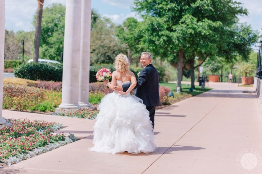 Bride and Groom taking a stroll in Orlando Florida