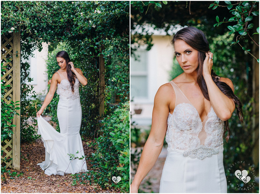 bride in her gorgeous wedding gown